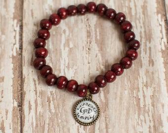 I Surrender All Christian Stretch Bracelet, St Gianna Quote Bracelet, Catholic Gifts for Women, Burgundy Wood Beaded Bracelet, 602047