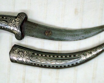 damascus steel blade knife dagger silver bidaree work on top
