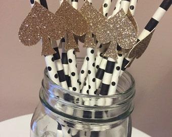 Gold Glitter Kate Spade Paper Straws