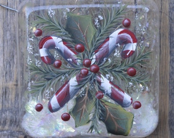 Hand Painted Glass Candy Cane Christmas Ornament