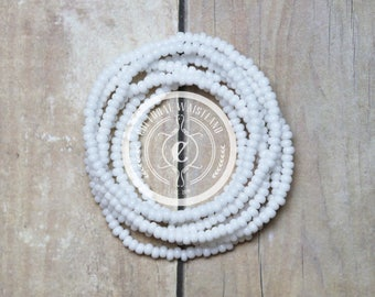 Waist Beads #01 | Belly Beads | African Inspired | Belly Chains | White