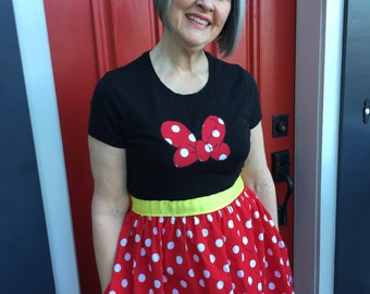 Minnie Mouse-inspired T-Shirt Dress for Women--sizes S,M,L,XL and XXL