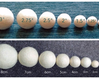 10X Wool balls - Felt Balls, 100% Wool Bead, SIZE: 2cm to 8cm. WOOL dryer ball, Natural White Pom poms for crafting, garland, toy