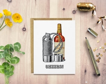 Funny thank you card, cheers, congratulations card, card for dad, card for him, card for friend, online greeting card