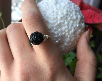 Sparkly Black Ring | Black Sparkle Ring | Sparkly Ring | Black Rhinestone Ring | Black Ring | New Ring | Fun Ring | Bold Ring | Gift