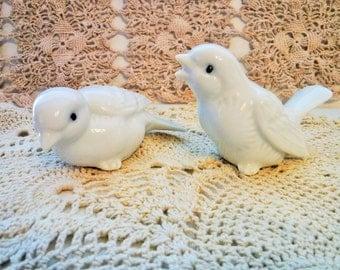 Porcelain Love Birds, Pair of Porcelain Birds, Cottage Chic Birds, High Gloss Porcelain Birds, Vintage White Bird Figurines, Made in Japan