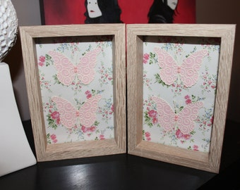 Twin Pink Floral Butterfly Pictures