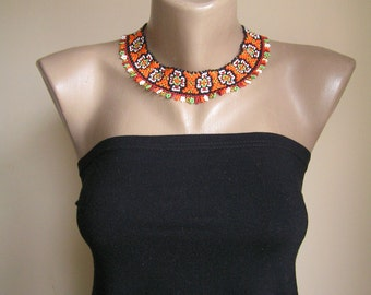 Ukrainian choker / Beadcrochet necklace / Ukrainian beadwork / Ukrainian jewellery / Multicolor beaded necklace / Ukrainian gerdan gift