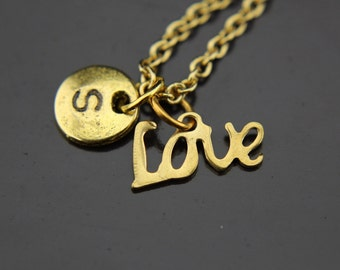 Gold Love Charm Necklace Love Charm Love Necklace Love Pendant Personalized Necklace Initial Charm Initial Necklace Customized Jewelry