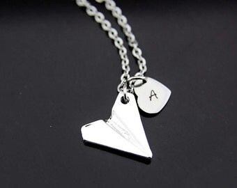 Paper Plane Necklace, Silver Paper Airplane Charm Necklace, Origami Airplane Charms, Origami Plane Jewelry, Personalized Initial Necklace
