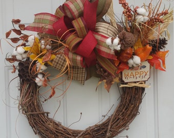 Fall wreath, Cotton wreath, farmhouse wreath, Thanksgiving wreath, grapevine wreath, wooden sign, Front door wreath