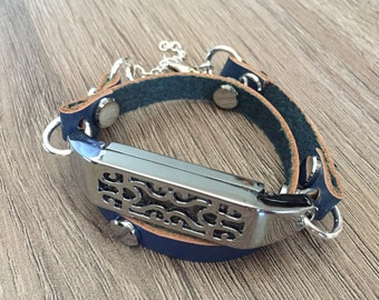 Navy Blue Band for Fitbit Flex 2 Activity Tracker Silver Rivets Metal Fitbit Flex 2 Pendant Leather Fitbit Flex 2 Jewelry Bracelet