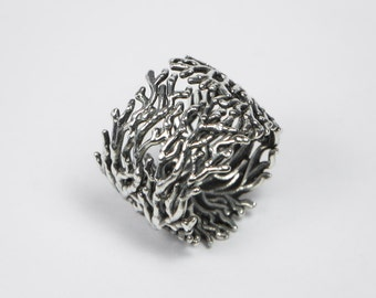 Coral Ring - Silver 925 sterling - Hand polished and oxidized - Silver Ring Band - Sea Ring, Nature inspired design, Nature Ring