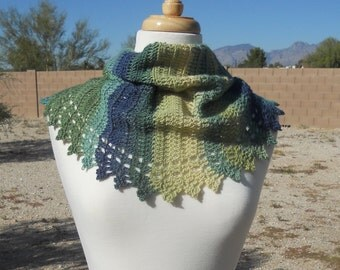 Greens, Greenish Blues and Yellow-Greens Variegated Wool Crescent Shaped Crocheted Shawl