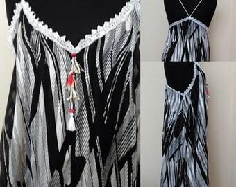 Oversize  Beach Dress,    Embellished Boho Casual Dress,     Boho Maxi Blak&White Dress, Handmadeby Nadya   Size 12-14