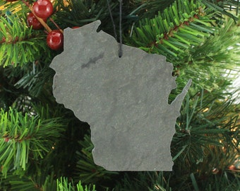 Wisconsin Slate Christmas Ornament- Personalized with Laser Engraving