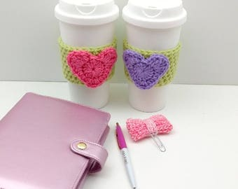 Green Crochet Cup Cozy: Coffee/Tea Sleeve with Heart (Pink or Purple)    [058]