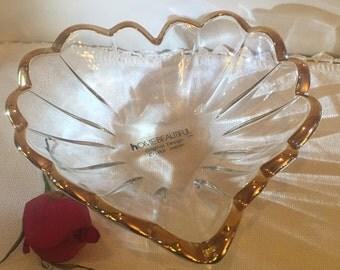 sale cinderella wedding crystal glass ring dish heart gold trim wedding dish candy dish soap dish - Cinderella Wedding Ring