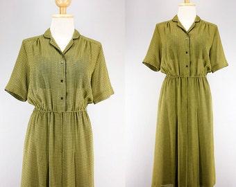 Vintage 70s Dress for Women | Vintage Japanese Dress | Avocado Green Dress | Collared Button Shirt Dress | Secretary Dress | Minimalistic