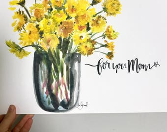 Dandelion Mother's Day bouquet print 11x14in