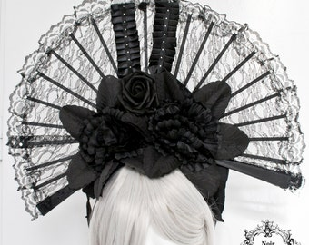 One of a kind gothic couture headpiece-Ready to ship-Wgt headpiece-gothic headpiece-headband