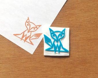 Fox stamp, fox rubber stamp, fox eraser stamp, animal stamp, handmade pattern rubber stamp, hand carved stamp