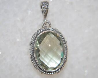 Sterling Silver and Prasiolite Genuine Green Amethyst Unique Oval Shape Pendant Gemstone Necklace