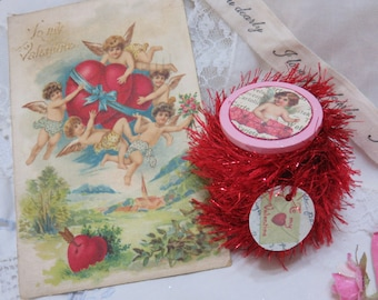 6 yards RED Tinsel Glitter Trim, Twine, Painted Wooden Spool with Victorian Valentines Art, Gift Bag, Gift Tag, Craft, Sew, Knit