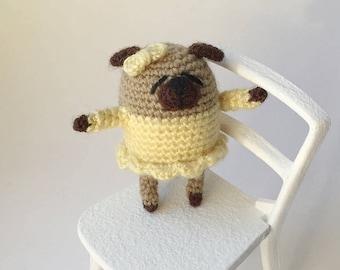 Miniature pug Crochet pug Amigurumi pug Crochet toy Yellow Crochet dog Crochet puppy Pug dog Little pug Crochet animals Pug plush Pug doll