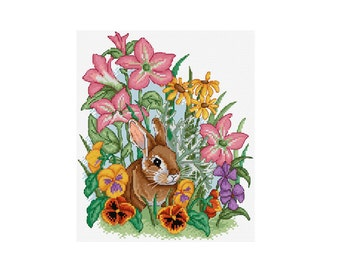 Rabbit Among Flowers - Durene J Cross Stitch Pattern