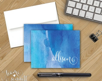 Watercolor Wash Personalized Note Cards - Red or Blue - Monogram Notecard Stationery - Folded Note - Create Your Own Bohemian Stationary