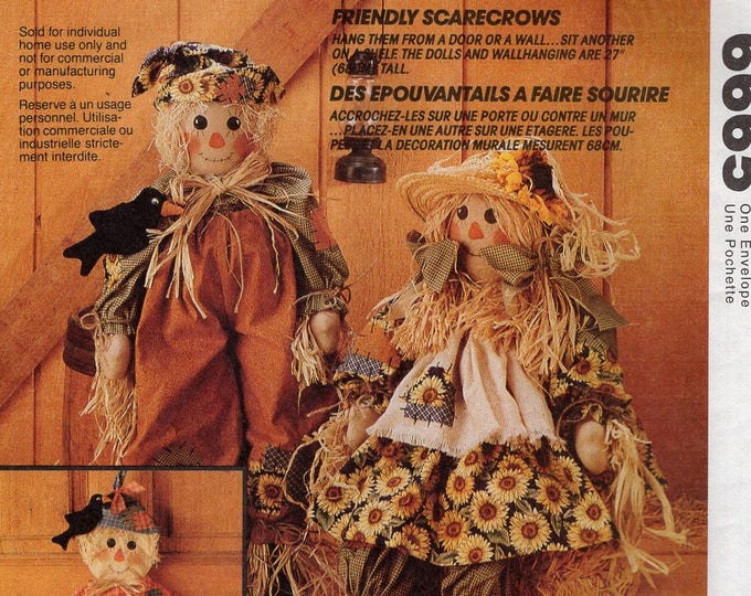 Free Us Ship Sewing Pattern McCall's 6665 Faye Wine Friendly Scarecrows Scare Crow Dolls Mr. Mrs Door Greeters Uncut Fall Harvest Halloween
