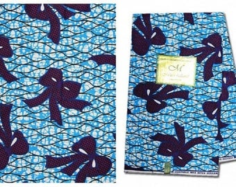 African Fabric Ankara ~ Purple & Blue Bows on Turquoise, New Arrival, UK Import~6 Yards Ea.
