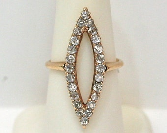 Vintage 14k Yellow Gold Diamond Marquise Shaped Ring