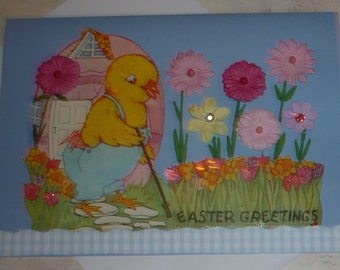Egg House Chick and Flower Garden Upcycled Repurposed Easter Greeting Card