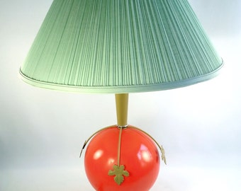 Mid Century Orange Glass Ball Table Lamp w Pale Green Shade Mod