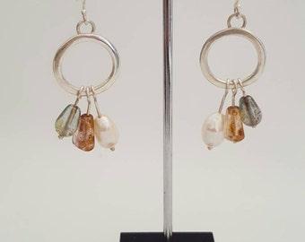 Sterling silver modern chandelier earrings