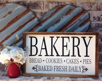 Bakery Sign, Kitchen Sign, Farmhouse Style Sign, Baked Fresh Daily, Wood Sign Saying, Kitchen Decor, Country Decor, Framed Wood Sign