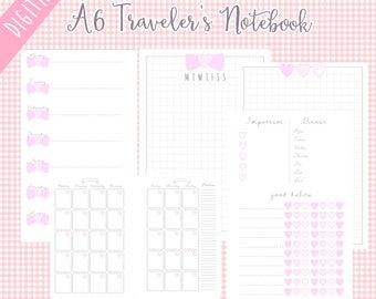 A6 Undated Daily Planner Printable TN Traveler's Notebook Bow