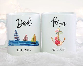 Couples Mug Set, Mom And Dad Mugs, New Parents Gift, Gift For Parents, Mom Coffee Mug, Dad Mug, Baby Announcement, Baby Shower Gift for Mom