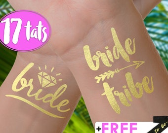 Set of 17 'Bride Tribe' Tattoos | bachelorette party tattoos, metallic temporary tattoos, gold foil tattoos, bridesmaid gifts, gold tattoos