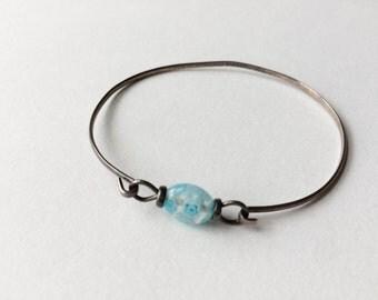 Vintage Blue Flower Beaded Silver Tone Bracelet Bangle