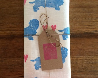 "100% Linen Dachshund and Hearts ""Bertie"" Luxury Kitchen Tea Towel"