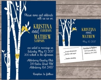 navy and yellow love bird invitation set, personalized wedding invitations, birds in tree wedding invite, custom wedding invitations