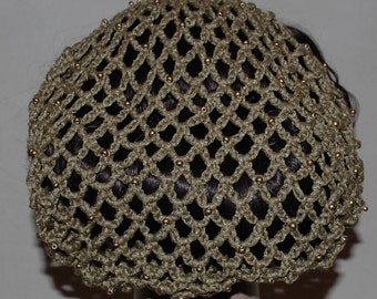 Beaded Lace Alice-Band Hair Snood in Soft Taupey Gold - 1940's Glamour