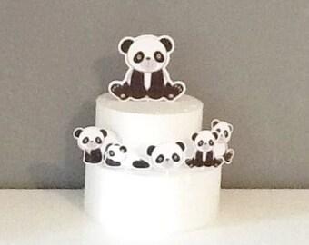 Set of 5 Panda Toppers, Panda Toppers,Panda Party Decor, Birthdey Panda Party Decor, Panda Party, Panda Cupcake Toppers.