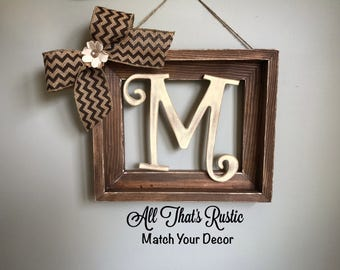 rustic decor rustic wood frame initial frame rustic home decor personalized decor initial frame frames rustic wall decor home decor
