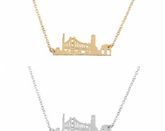 Golden Gate Bridge Necklace, San Francisco skyline necklace, cityscape necklace, landscape necklace