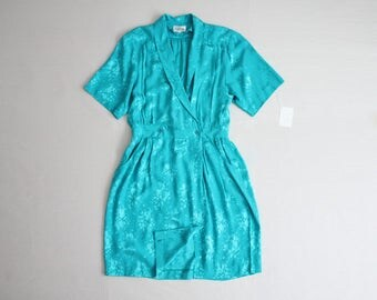 blue silk dress | turquoise dress | 90s silk dress