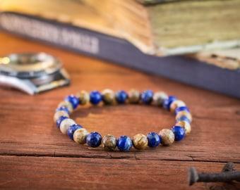 6mm - Natural jasper stone & blue lapis lazuli beaded stretchy bracelet, made to order bracelet, womens bracelet, mens bracelet
